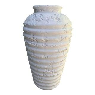 Vintage Textured Matte White Tall Vase For Sale