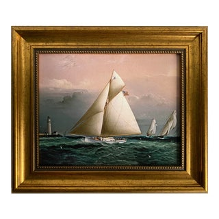 Sailboat & Boston Lighthouse Reproduction Framed Print For Sale