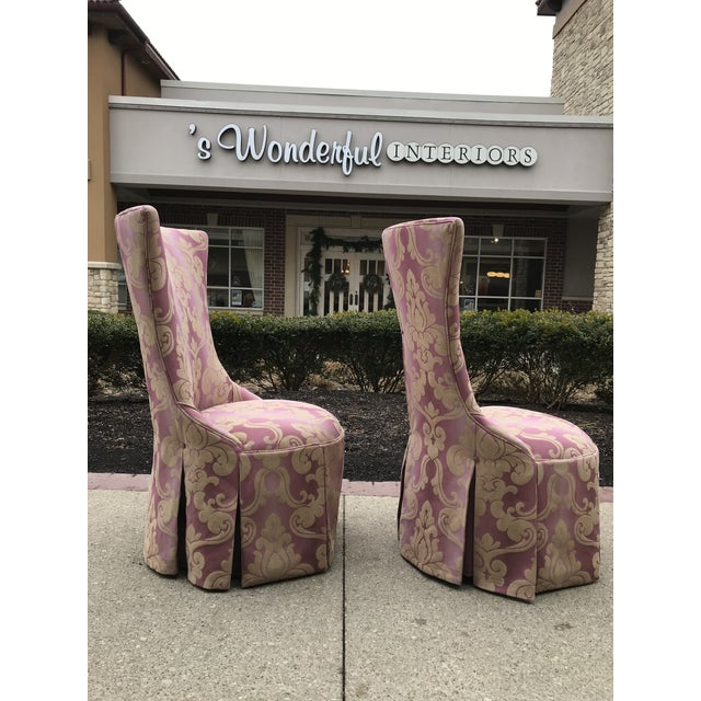Transitional 1940s Vintage Lee Jofa Host Dining Chairs Pink Ombre Damask - a Pair For Sale - Image 3 of 12