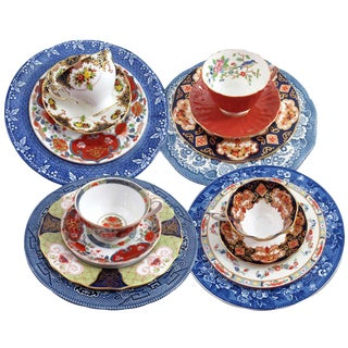 Mismatched Imari Dinnerware Set, Service for 4
