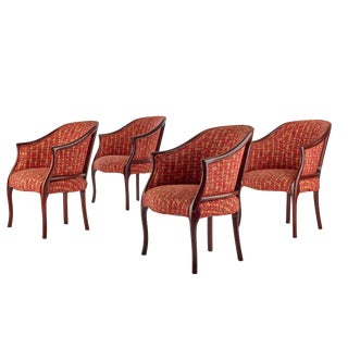 Kittinger Wood and Upholstered Transitional Design Lounge Chairs - Set of 4 For Sale