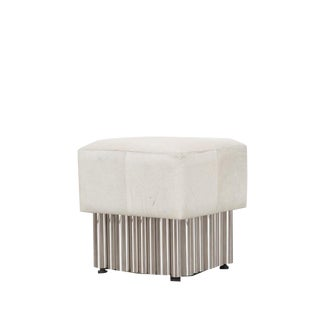 Early 21st Century Vintage Jetta Accent Cream Hair on Hide Ottoman for Living Room, Bed Room, Dining Room For Sale