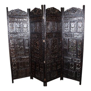 Mid Century Anglo Indian Carved Four Panel Screen For Sale