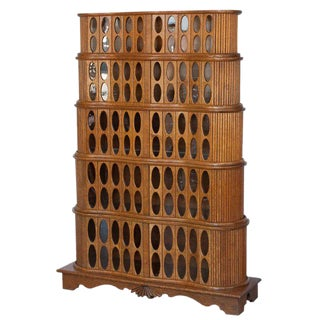 Unique 1930s Sculptural Stacked Oak Tambour Curio Cabinet