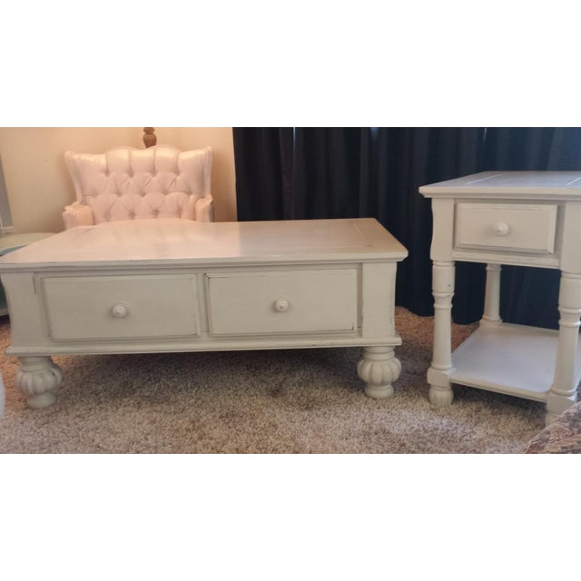 Gray Shabby Chic Coffee Table with Drawers - Image 7 of 7