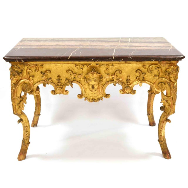 French Work Console table or Desk Regency period XVIII century Gilded wood, red marble Original condition : no restauration