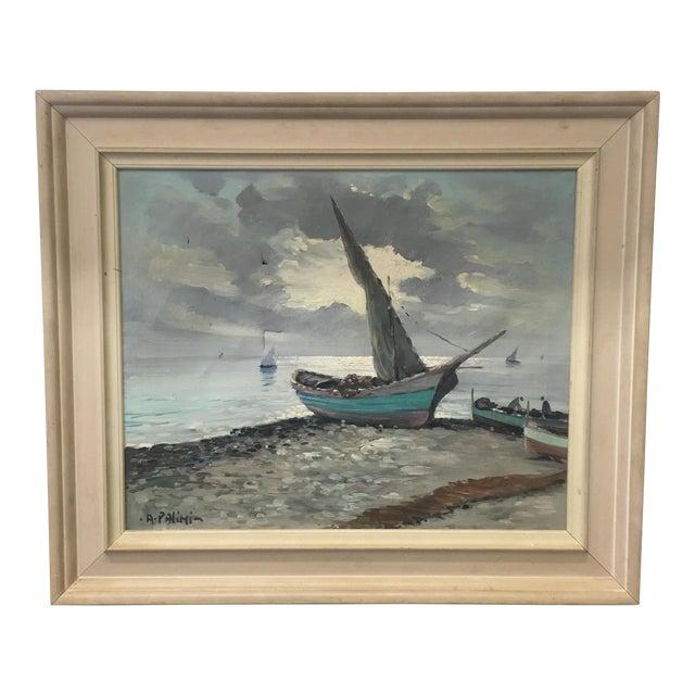 Vintage Nautical Oil Seascape - Image 1 of 11