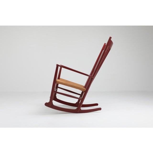 American Hans Wegner J16 Rocking Chair in Burgundy For Sale - Image 3 of 9