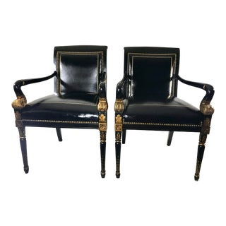 Vintage Mid Century Hollywood Regency Black Leather Parcel Gilt Armchairs – a Pair For Sale