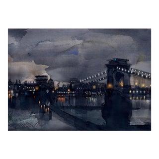 Fine Art Giclee Print Of Chain Bridge, Budapest For Sale