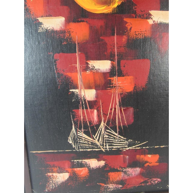 Mid-Century Abstract of Ships at Night - Image 3 of 5