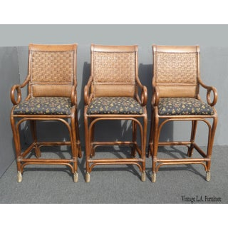 Vintage Bamboo Rattan Style Black & Brown Bar Stools ~ Tommy Bahama Style Preview