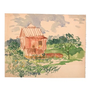 1930s Vintage Landscape With Barn Painting For Sale