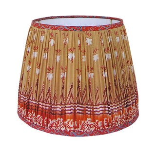 Tan/Orange Sari Gathered Lamp Shade For Sale