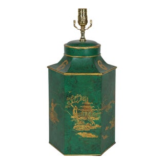 Vintage English Export Chinoiserie Hexagonal Tea Caddy Hand-Painted Landscape Table Lamp For Sale