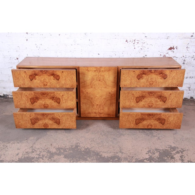 Milo Baughman Style Burl Wood Long Dresser or Credenza by Lane For Sale - Image 9 of 13