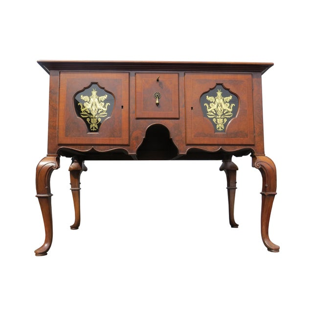Rare antique Tobey Furniture Company low boy. Handcrafted from solid walnut with walnut burl and brass hardware. Primary...