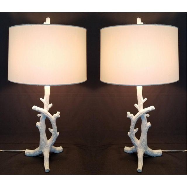 White Faux Bois Bedside Lamps Inspired by Serge Roche - a Pair Mid-Century Modern Palm Beach Boho Chic Tropical Coastal For Sale - Image 13 of 13