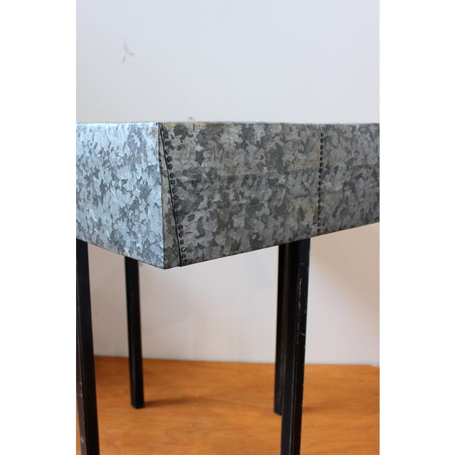 2010s Rustic Nail Detail Metal Table For Sale - Image 5 of 6