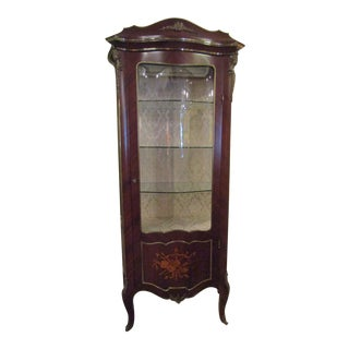 Rococo Marquetry Lighted Cabinet For Sale