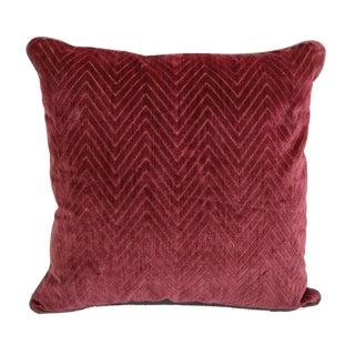 "Scalamandré Red ""Fire Stitch"" Velvet Pillow"