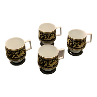 Black and Gold Paisley Coffee or Dessert Cups - Set of 4 For Sale