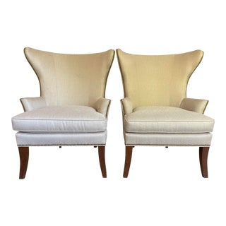 Sherrill Wingback Chairs- A Pair For Sale