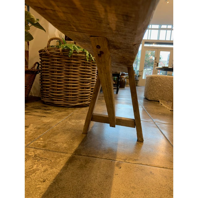 French Antique French Long Primitive Bench For Sale - Image 3 of 12