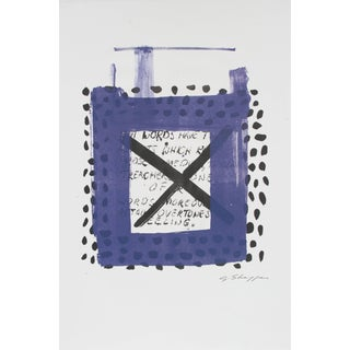 Gary Lee Shaffer Square Abstract Lithograph in Indigo With Polka Dots and Text, 1999 For Sale