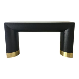 Karl Springer Style Console Table With Brass Detail 1970s For Sale