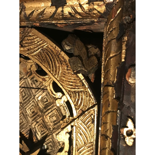 Gold 18th Century Antique Qing Chinese Carved Giltwood Temple Wall Panel For Sale - Image 8 of 13