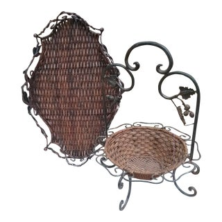 Wicker and Wrought Iron Serving Set - A Pair For Sale