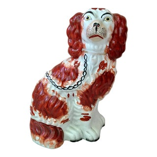 1880 Antique English Staffordshire Spaniel Dog Figurine For Sale