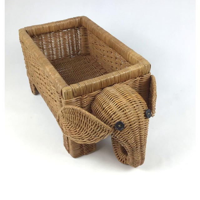 Rattan 1970s Vintage Wicker Elephant Planter For Sale - Image 7 of 12
