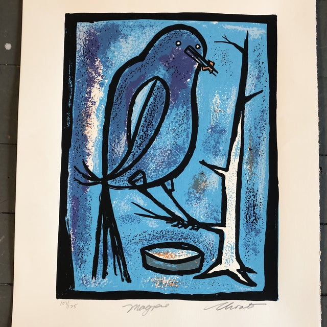 Mid-Century Modern Gallery Wall Collection 3 Vintage Original Bird Woodblock Prints For Sale - Image 3 of 6