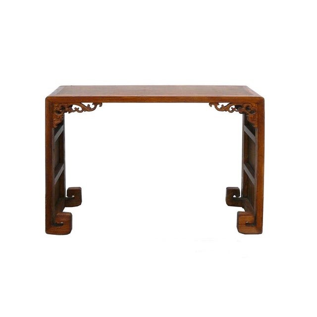 Chinese Elm Wood Bamboo Scroll Console Table - Image 1 of 5