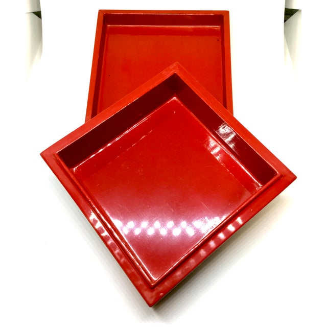 Vintage Red Japanese Lacquered & Mother of Pearl Box For Sale - Image 9 of 13