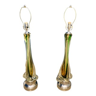 Mid Century Murano Glass Lamps - A Pair For Sale