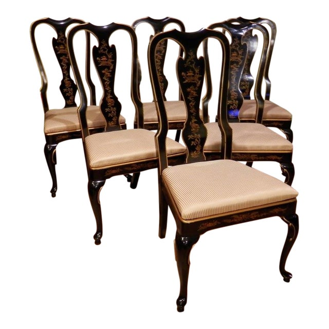 Drexel Heritage Chinoiserie Queen Anne Dining Chairs - S/6 - Image 1 of 7