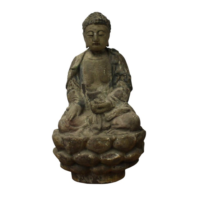 Chinese Rustic Wood Sitting Buddha Statue For Sale