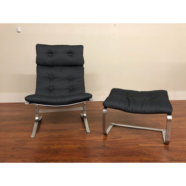 Danish Vintage Metal Lounge Chair and Ottoman Newly Upholstered For Sale - Image 4 of 11