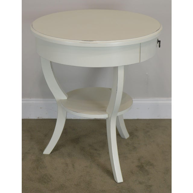 Round White One Drawer Side Table For Sale - Image 4 of 13