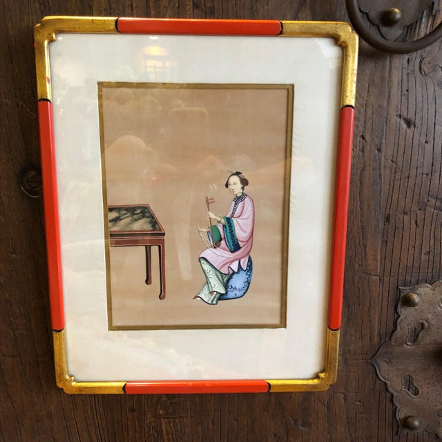 Paint '4' Chinese Export Paintings on Silk - Set of 4 For Sale - Image 7 of 8