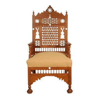 Early 20th Century Antique Syrian Moorish Royal Throne Armchair For Sale