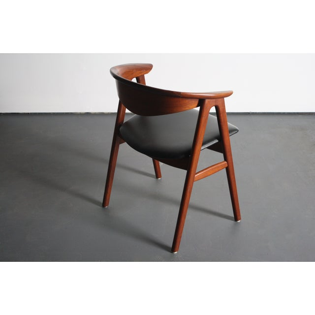 Erik Kirkegaard Teak Compass Sculpted Desk Chair For Sale - Image 4 of 8