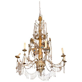 19th Century Genovese Giltwood & Crystal Chandelier