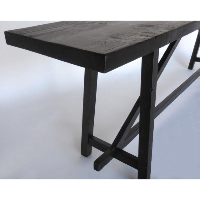 Custom Reclaimed Wood Sofa Back Table or Console For Sale - Image 4 of 7