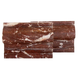 Large Burgundy & Cream Marble Bookends, Pair For Sale