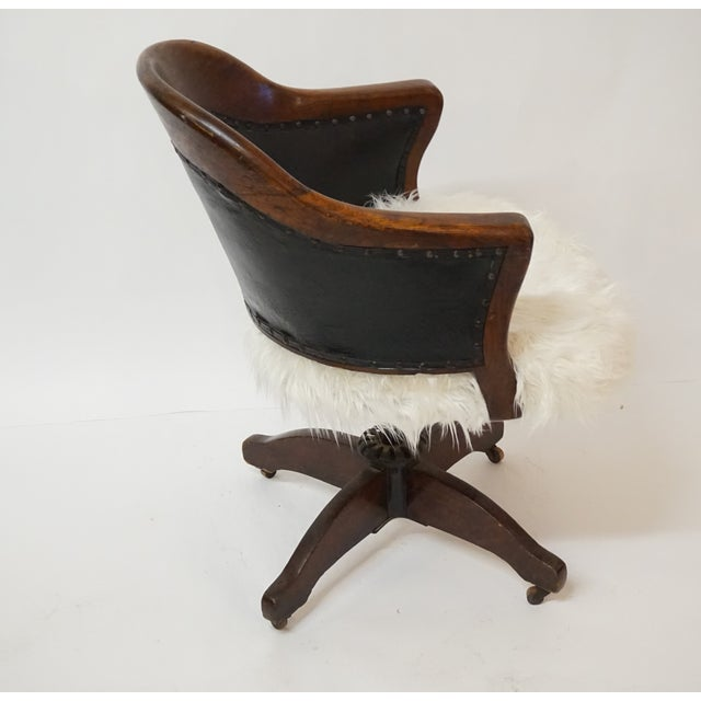 Antique Oak Bankers Swivel Chair With Mongolian Fur - Image 4 of 7