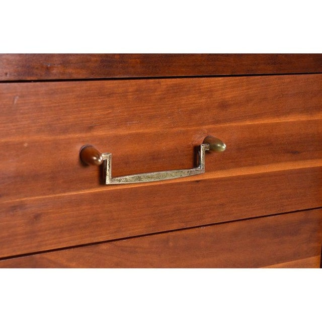 1950s Cherry Bachelors Chest by Hickory Mfg With Brass Bullet Shaped Handles For Sale - Image 5 of 10